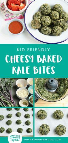 Healthy Meals For Kids Try a new way to serve up greens that the kids will actually enjoy with these Cheesy Baked Kale Bites. Plus: Leftovers store and reheat super well! Healthy Snacks For Kids, Healthy Foods To Eat, Healthy Eating, Kid Snacks, Kale Recipes, Baby Food Recipes, Healthy Recipes, Gourmet Recipes, Recipies