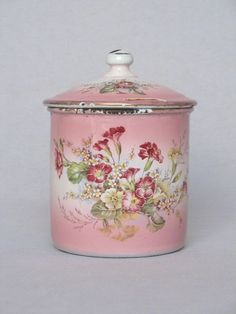 Pink Shaded Floral French Enamel TEA Canister