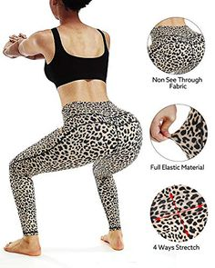 STYLEWORD Womens Yoga Pants with Pockets High Waist Workout Leggings Running Pants - DeepShopo - Apparel and Accessories Store Running Leggings, Yoga Leggings, Workout Leggings, Workout Pants, Leopard Print Leggings, Printed Leggings, Yoga Pants With Pockets, Waist Workout, Body Curves