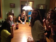 The girls having a homecoming party
