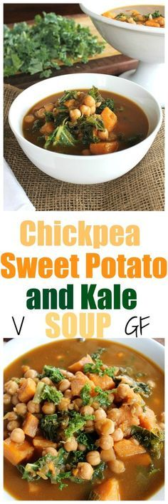 Chickpea, Sweet Potato and Kale Soup. So easy, full of flavor, protein, goodness and just a few ingredients. | http://TheVegan8.com |