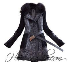 black grey faux fur collor leather detail wool cotton blend coat