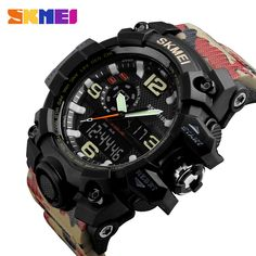 Classic E-light Digital Wrist Watch Quartz Movement Dual Time Watch Hardness Band