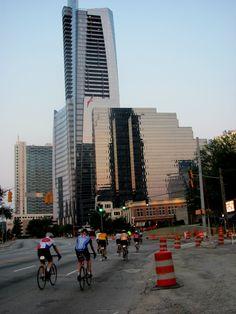Beginning BRAG (Bicycle Ride Across Georgia) by riding down Peachtree Blvd. through the heart of Atlanta