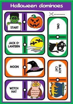 Halloween set - eslchallenge Halloween Vocabulary, Halloween Worksheets, Halloween Spells, Halloween Fun, Cool Kids, Kids Fun, Primary English, English Teaching Resources, Halloween Treat Bags