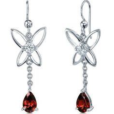 Butterfly Design 2.00 Carats Garnet Pear Shape Dangle Cubic Zirconia Earrings in Sterling Silver Rhodium Finish Peora. $34.99. Save 80% Off!