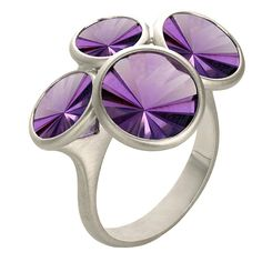 ANTONIO BERNARDO Celebration Ring, Brazil, 21st century Celebration Ring in 18k white gold with four round, special-cut amethysts.