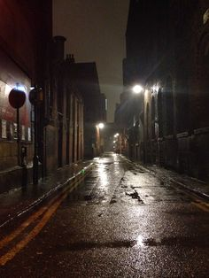 A rainy Friday night in Manchester town.  Images like this, desolate streets that were once bustling in the day hide things in the darkness. I want to recapture a similar one in Hereford just using the street light and perhaps even when it's raining.