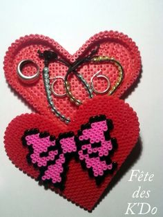 Jewelry heart box with bow hama perler beads by fetedeskdo