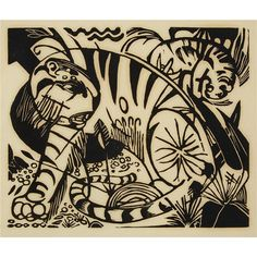 Artwork by Franz Marc, TIGER, Made of Woodcut on thin Japan-type paper
