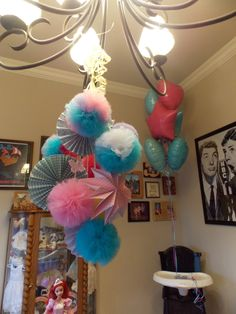 Tulle Pom-Poms and Paper Circle Fans... Chandeliers (4 total)