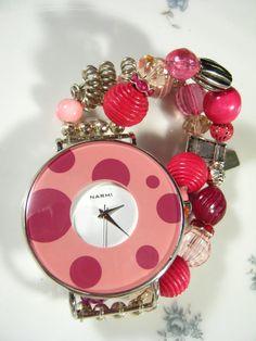 Bracelet Watch Pink Rose Silver Stretch by JenniferJonesJewelry, $50.00