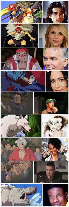 'Princess Mononoke' characters & American voice actors.