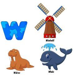 W alphabet vector Zebra Cartoon, Cartoon Whale, Penguin Cartoon, Horse Cartoon, Cartoon Elephant, Cartoon Kids, Bubble Alphabet, V Alphabet, Animal Alphabet