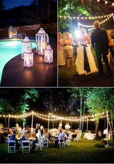 Stunning Southern Backyard Wedding: how to get the lights on the poles?