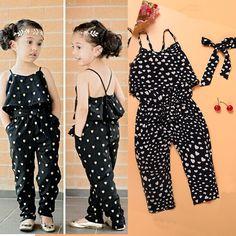 $8.9 - Toddler Kids Baby Girls Belt Romper Jumpsuit Heart Harem Pants Trousers Clothes #ebay #Fashion