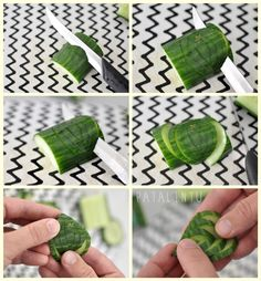 fruit and vegetable display How to make cucumber leaves: make small to large v-shaped cuts into the side of a cucumber, and then slide the pieces apart into a leaf shape.cucumber leaf - graphic only, not in english Fruit And Vegetable Carving, Veggie Tray, Fruit Decorations, Food Decoration, Creative Food Art, Cocktail Garnish, Food Garnishes, Garnishing, Food Carving