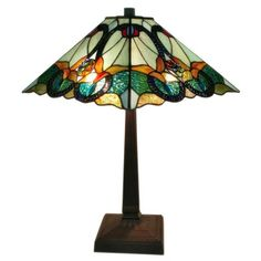 Tiffany-style Victorian 2-light Table Lamp with Blue Glass Shade | Overstock.com Shopping - The Best Deals on Tiffany Style Lighting