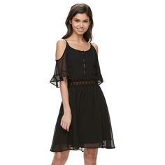 Disney Beauty and the Beast Cold Shoulder Lace Dress - Juniors, Girl's, Size: Small, Black