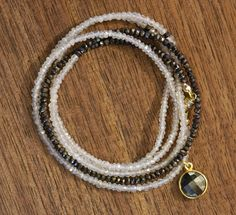 chocolate spinel and moonstone wrap bracelet — silverado vermont jewelry