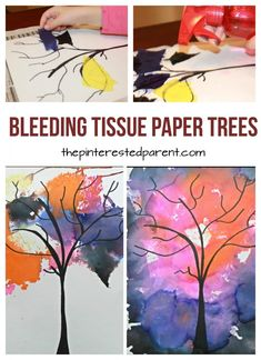 Bleeding Tissue Paper Trees bleeding tissue paper tree painting - spooky night autumn, fall or winter trees. Perfect arts & crafts project for every season for kids and preschoolers Tissue Paper Trees, Tissue Paper Crafts, Paper Crafting, Paper Art Projects, Fall Art Projects, Craft Projects, Preschool Art Projects, Project Ideas, Arts And Crafts For Teens