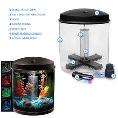 Aquarium-Kit-360-LED-Lighting-2-Gal-Tank-Bowl-Filter-Fish-Glass-Desktop-Home