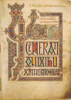 """Page with the Beginning of the text of Matthew's gospel, Lindisfarne Gospel Book. Lindisfarne, c. 715-720. Ink and tempera on vellum, 13-3/8 x 9-7/16."""" The British Library."""