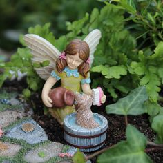 Katie Mini Fairy with Scruffy the Puppy Fairy Garden Miniature