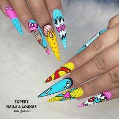 Pop Art Nails, Nail Pops, 80s Nails, Diva Nails, Comic Nail Art, Cartoon Nail Designs, Urban Nails, Lake Jackson, Luxury Nails