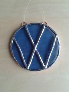 Hand made stained glass blue vw logo suncatcher.