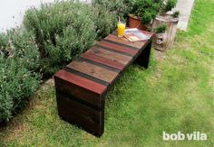 DIY Outdoor Bench: by Bob Vila   I really like the colors/stains on this bench. :)