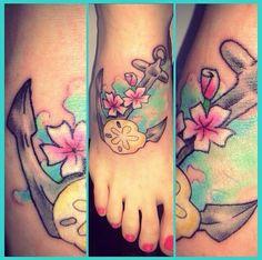 Anchor tattoo navy tattoo sand dollar tattoo hula moon Pensacola Florida colorful tattoo bright tattoo flowers bud teal tattoo Brittany milo brittmilo22