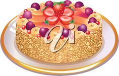 iCLIPART - This is a vector illustration of wonderful pie with nuts and berries on a plate