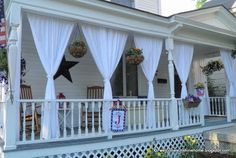 For front porch privacy, or sheer elegance! Front Porch Curtains, Porch Privacy, Outdoor Curtains For Patio, White Curtains, Chic Shack, Porch Shades, Outdoor Shades For Porch, Sunshine Homes, Outdoor Blinds