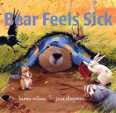 Bear Feels Sick, written by Karma Wilson. Super cute book. I've read it and talked about germs and how they spread. I put glitter on my hands and shook kids hands to demonstrate how germs spread.