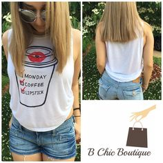 "Monday Coffee Lipstick Tank Top Super cute and  ""Monday Coffee Lipstick"" on a coffee cup graphic tank top. Made of soft rayon material. Has two side knots. Please check size chart in pic 3 for measurements. PRICE FIRM - NO TRADES Bchic Tops Tank Tops"