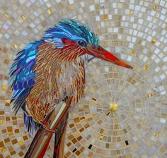 Malachite Kingfisher Card from Original Stained Glass Kingfisher Mosaic - Mosaic Art - Kingfisher Art - Kingfisher Greetings Card Mosaic Animals, Mosaic Birds, Mosaic Wall, Mosaic Glass, Stained Glass, Mosaic Artwork, Glass Artwork, Mosaic Crafts, Mosaic Projects