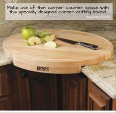 Put your corner kitchen counter to use with this oval-shaped corner cutting board. This wood cutting board is easier on knives and bacteria won't take over this board. Kitchen Items, Kitchen Storage, Kitchen Dining, Kitchen Decor, Kitchen Corner, Kitchen Board, Kitchen Products, Unique Kitchen Gadgets, Kitchen Sink