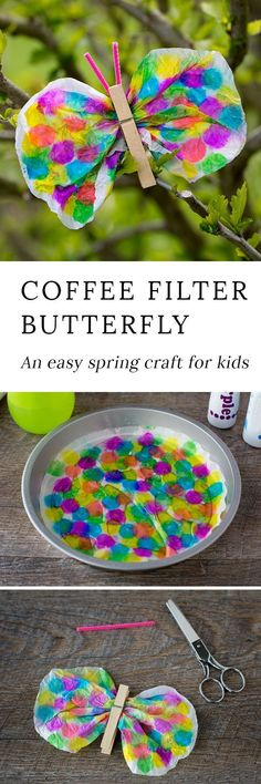 Not only is this Coffee Filter Butterfly Craft lovely, but it is packed with fine-motor skills. Dabbing, squeezing, scrunching, pinching…it's perfect for kids! #butterflycrafts #springcrafts #easypreschoolcrafts #craftsforkids #coffeefiltercrafts