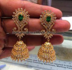Jewellery Designs: CZ Jhumkas with Emeralds