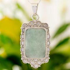 Green Jade Silver Necklace from Guatemala - Mint Petals | NOVICA