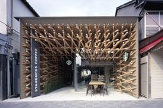 Starbucks Fukuoka by Kengo Kuma  Crazy use of basic materials interacting with the space.
