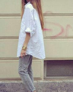 boyfriend white shirt and grey jeans