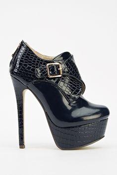 Mock Croc Contrast Platform Heels