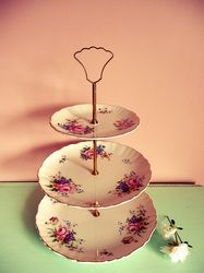 Vintage China & Props Hire, Wellington NZ- Tiered stands & plates - The Vintage Party