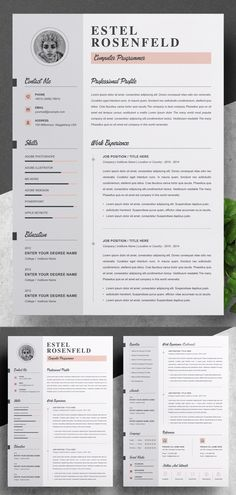 Creative Impressive Resume / CV Template Designs to get your future job. All resume templates are elegance with a modern design and well structured and very Resume Cover Letter Template, Modern Resume Template, Cv Template, Creative Resume Templates, Letter Templates, Psd Templates, Graphic Design Blog, Graphic Design Templates, Create A Resume