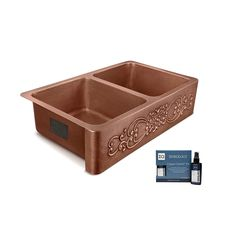 Best Farmhouse Themed Copper Sinks!  We love apron-front copper sinks in a kitchen because they are large and beautiful. Farmhouse Apron Sink, White Farmhouse Sink, Copper Farmhouse Sinks, Copper Kitchen, Kitchen Sink, Rustic Farmhouse, Copper Sinks, Under Sink Storage, Pure Products
