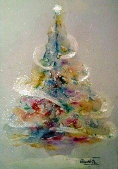 christmas paintings Ideas For Christmas Tree Drawing Ideas Holidays Christmas Tree Drawing, Watercolor Christmas Tree, Watercolor Trees, Christmas Paintings, Watercolor Cards, Watercolor Paintings, Simple Watercolor, Tattoo Watercolor, Watercolor Animals