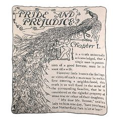 Wrap yourself in Jane Austen's effervescent tale of rural romance with this charming throw woven with intricate illustrations and beloved lines from her literary classic, Pride and Prejudice.