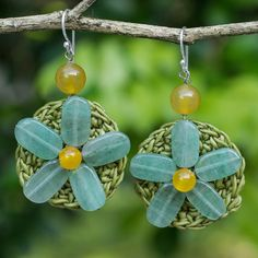 NOVICA Artisan Crafted Crocheted Earrings with Green Quartz Flowers ($21) ❤ liked on Polyvore featuring jewelry, earrings, dangle, quartz, green quartz jewelry, crochet flower earrings, hook earrings, crochet earrings and macrame earrings